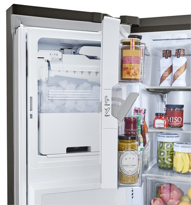 LG's patented door-ice making technology allows for slim and sleek profile designs that maximize usable space inside the refrigerator.