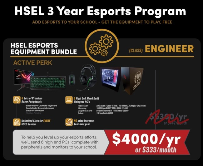 High School Esports League 3 Year Equipment Bundle