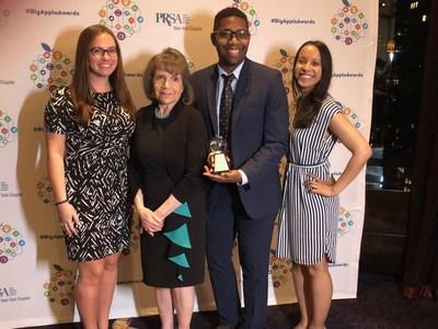 Finn-Partners L-R: Katherine Brady, PRSA NY President Leslie Gottlieb, Marcus Braham, and Paula Munoz