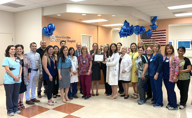 The staff of O'Connor Hospital Wound Care Clinic with members of ANX Home Healthcare pose with San Jose City Councilmember Dev Davis.