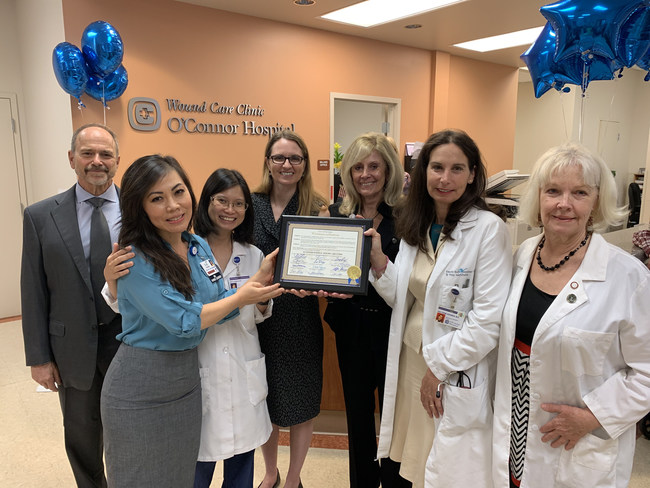 The leadership of O'Connor Hospital Wound Care Clinic. From Left to Right: Dr. Bruce Lerman, Elise Nghiem, Dr. Nha Pham, Councilmember Dev Davis, Pat Wolfram, Dr. Polyxene Kokinos, and Joan Gates.