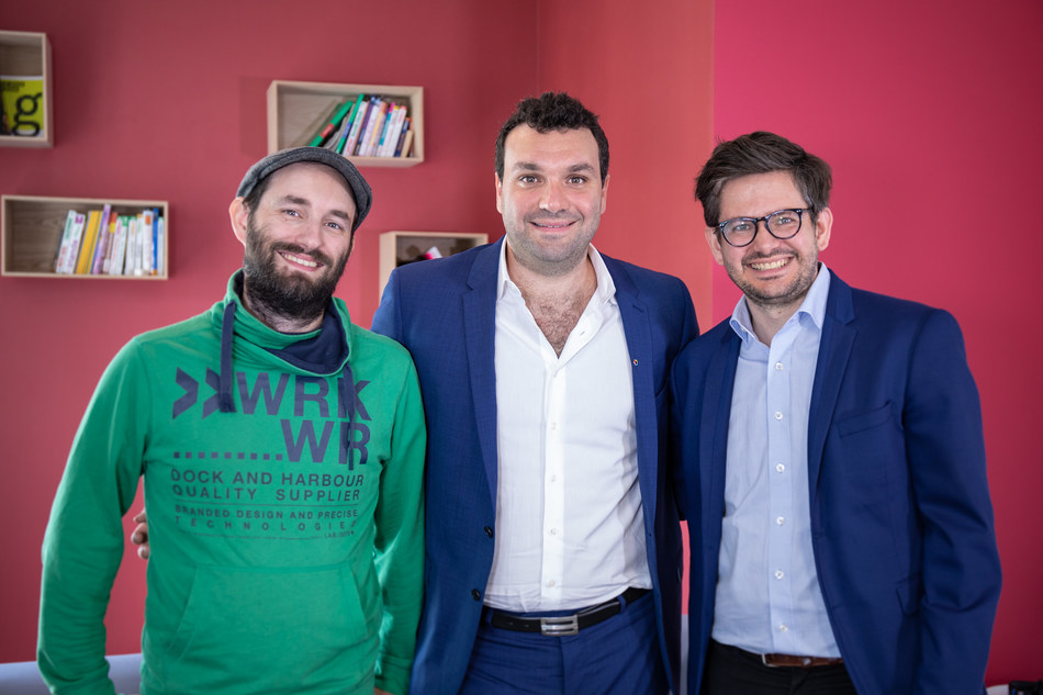 Pricing Assistant Co-founders Sylvain Zimmer and Martin de Charette with Contentsquare Founder and CEO Jonathan Cherki (center).