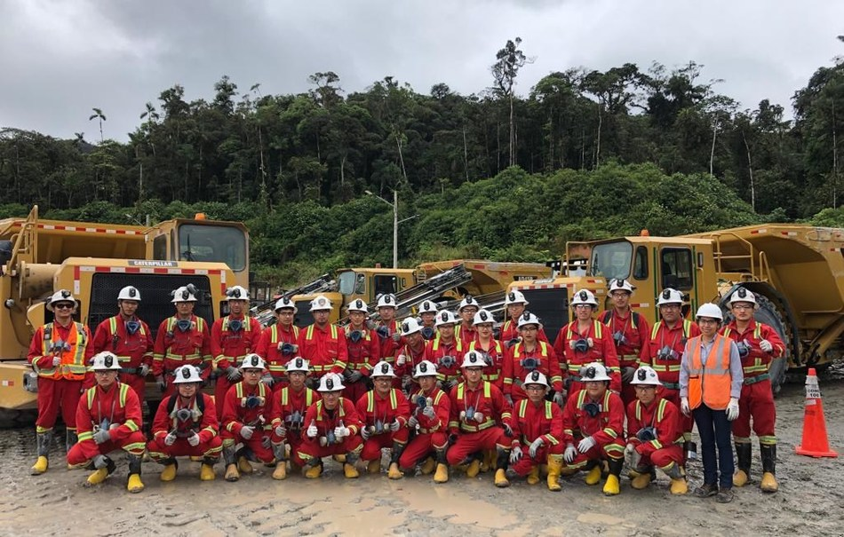 Figure 2. Owner's mine crew that initiated mining of the first transverse long hole production stope (CNW Group/Lundin Gold Inc.)