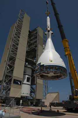 The test version of Orion attached to the Launch Abort System for the Ascent Abort-2 (AA-2) flight test is hoisted up by crane at Space Launch Complex 46 at Cape Canaveral Air Force Station in Florida on May 23, 2019. The flight test article will be moved inside the vertical integration facility for stacking atop the booster. The booster was procured by the U.S. Air Force and manufactured by Northrop Grumman.