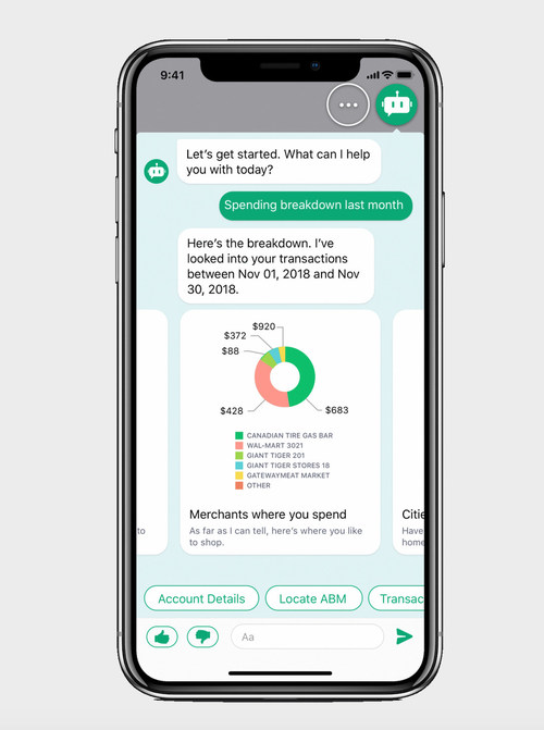 Manulife Bank's intelligent virtual assistant MAI, powered by Kasisto's Conversational AI solution KAI, shares insights into customer spending habits. It can also track account balances, find the closest ABM, and answer personal finance questions.
