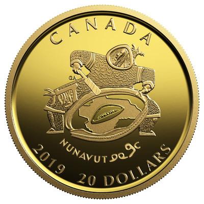Moneda de oro puro acuñada por la Real Casa de Moneda del Canadá para celebrar el vigésimo aniversario de Nunavut
