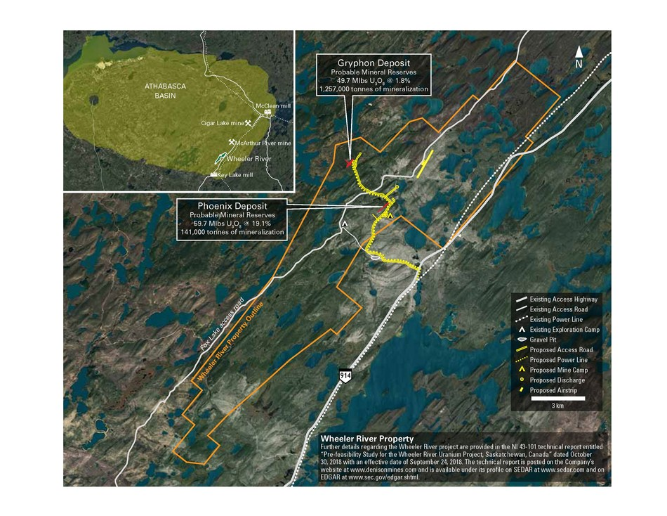 Figure 1. Location map of Wheeler River showing existing and proposed infrastructure. (CNW Group/Denison Mines Corp.)