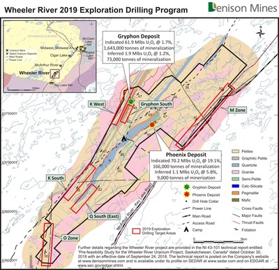 Figure 3. Basement geology map for Wheeler River showing the 2019 exploration targets areas, including K West. (CNW Group/Denison Mines Corp.)