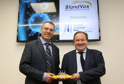 Dr. Ron Babecoff, CEO of BiondVax Pharmaceuticals (L) and Mr. Ambroise Fayolle, Vice-President of the European Investment Bank (EIB) attending the EIB-BiondVax Signature Event at BiondVax's universal flu vaccine manufacturing facility in Jerusalem, Israel on June 26, 2019. [Photo: Alex Kolomoisky] (PRNewsfoto/Biondvax Pharmaceuticals Ltd)