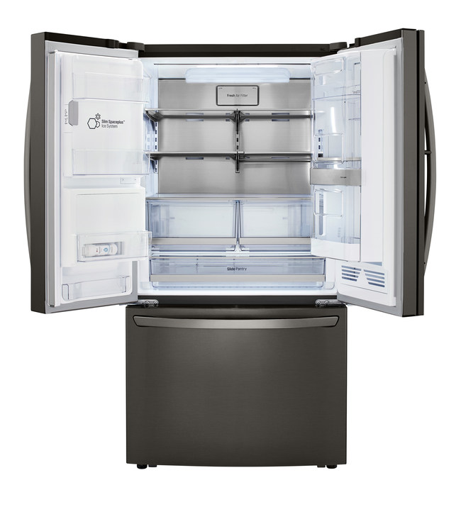 This door-ice making technology takes up less room than a conventional refrigerator ice maker and frees up more space for food storage in the refrigeration compartment.