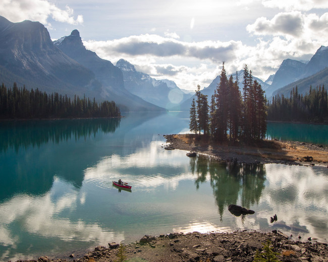 Alberta is home to incredible adventure options, including canoeing around Spirit Island on Maligne Lake.