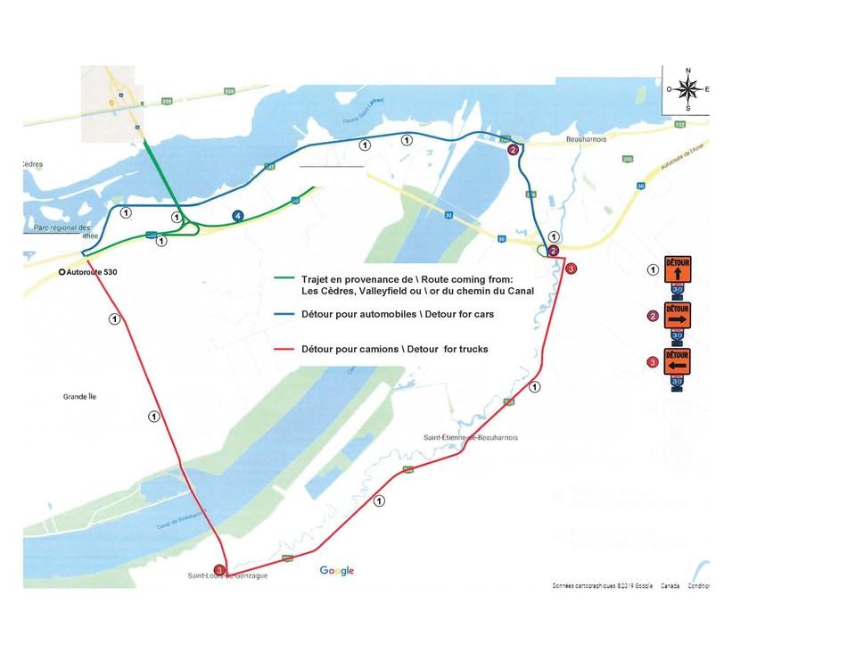 Plan des chemins de détour (Groupe CNW/A30 Express)