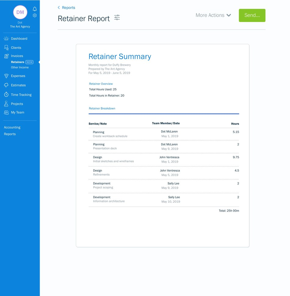 FreshBooks' new Retainers feature helps service-based businesses track hours against allotted time to effectively manage project progress. (CNW Group/FreshBooks)