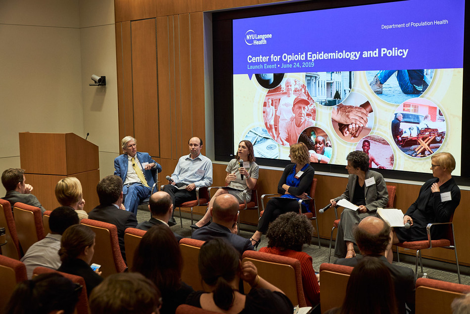 Launch event for the Center for Opioid Epidemiology & Policy featuring (from left to right) Dr. Edward Nunes, Columbia University; Dr. Daniel Neill, NYU Wagner Graduate School of Public Service; Dr. Magdalena Cerdá, NYU Langone Health; Abby Goodnough, The New York Times; Dr. Sherry Glied, Dean, NYU Wagner Graduate School of Public Service; Dr. Jennifer McNeely, NYU Langone Health