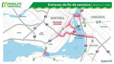Carte générale des fermetures - FDS 28 juin (Groupe CNW/Ministère des Transports)