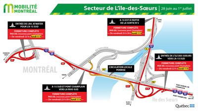 Fermetures secteur Île des Soeurs - FDS 28 juin (Groupe CNW/Ministère des Transports)