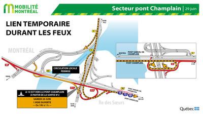 Lien temporaire pour les feux d'artifice, secteur Île des Soeurs - FDS 28 juin (Groupe CNW/Ministère des Transports)