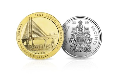 The special-edition uncirculated coin set to mark the official inauguration of the Samuel de Champlain Bridge includes an official commemorative coin along with an uncirculated 50-cent piece struck by the Royal Canadian Mint. (CNW Group/Monnaie Collection Royale)