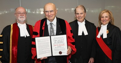 The Law Society of Ontario (LSO) presented Earl A. Cherniak, Q.C. (second from left), with an honorary LLD at the June 26 morning call to the Bar ceremony in Toronto. He was honoured for his immense contribution to the legal profession and to the administration of justice in Canada – and for his devotion to the rule of law. Congratulating him (l-r) are: LSO Treasurer Malcolm Mercer; The Hon. Robert P. Armstrong, Q.C., and the Hon. Bonnie Croll. (CNW Group/The Law Society of Ontario)