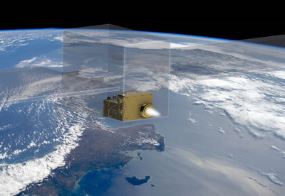 Rendering of Maxwell in a transparent smallsat.
