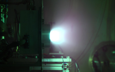 Phase Four RF thruster firing in a vacuum chamber.