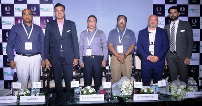 (L – R) Sri R. Chandrashekaram, Jt. Commissioner of Labour, Govt. of Telangana, Mr. Yogesh Mudras, Managing Director, UBM India Pvt. Ltd; Sri B. R. V. Susheel Kumar, IAS, Director of Mines and Geology, Govt of Telangana; Sri U.V.V.S. Bhima Rao, Deputy Chief Inspector of Boilers, Govt. of Telangana and Mr. Jason Woods, Middle East Representative, International Powered Access Federation (IPAF), Mr. Prashant Jain, Project Director, UBM India Pvt Ltd at the inauguration of Occupational Safety and Health (OSH) South India 2019 at Hitex Exhibition center in Hyderabad today. (PRNewsfoto/UBM India Pvt. Ltd.)
