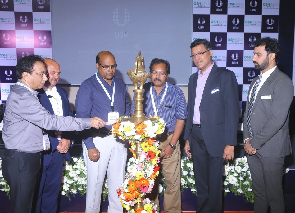 (L – R) Sri B. R. V. Susheel Kumar, IAS, Director of Mines and Geology, Government of Telangana; Mr. Jason Woods, Middle East Representative, International Powered Access Federation (IPAF); Sri R. Chandrashekaram, Jt. Commissioner of Labour, Govt. of Telangana; Sri U.V.V.S. Bhima Rao, Deputy Chief Inspector of Boilers, Govt. of Telangana; Mr. Yogesh Mudras, Managing Director, UBM India Pvt. Ltd and Mr. Prashant Jain, Project Director, UBM India Pvt Ltd lighting the lamp at the inauguration of the 6th edition of Occupational Safety and Health (OSH) South India 2019 at Hitex Exhibition center today. (PRNewsfoto/UBM India Pvt. Ltd.)