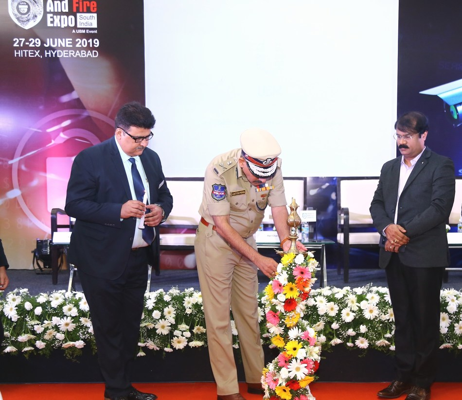 (L to R) Mr. Pankaj Jain, Group Director, UBM India Pvt. Ltd.; Shri Santosh Mehra, IPS, Addl. DGP & Director, Telangana State Police Academy to the SAFE South India 2019 and Sri Krishna Yedula, Secretary, Society for Cyberabad Security Council lighting the lamp at Security and Fire Expo (SAFE) South India 2019 (PRNewsfoto/UBM India Pvt. Ltd.)