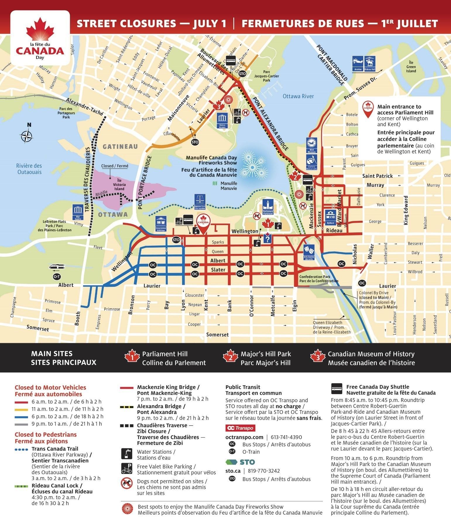 Map Of Road Closures Ottawa Canada Day R E P E A T    Media Advisory   Ottawa Gatineau Street Closures