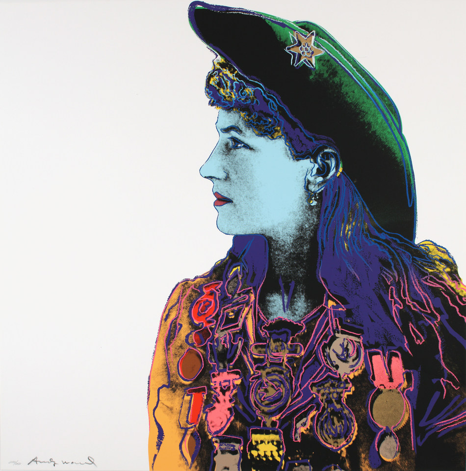 Andy Warhol, Cowboys and Indians: Annie Oakley, 1986 Screenprint on Lenox museum board Edition 55/250 36 × 36 inches, Collection Booth Western Art Museum © 2019 The Andy Warhol Foundation for the Visual Arts, Inc. / Licensed by Artists Rights Society (ARS), New York