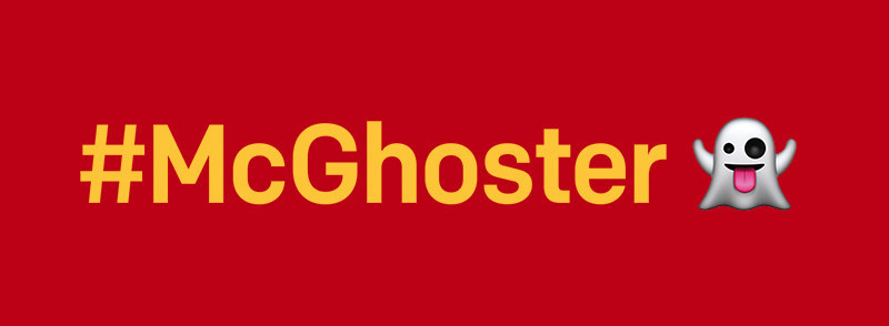 Sending ghost emojis and using #McGhoster, the public are calling out McDonald's on Twitter for not signing the Better Chicken Commitment. (PRNewsfoto/The Humane League)