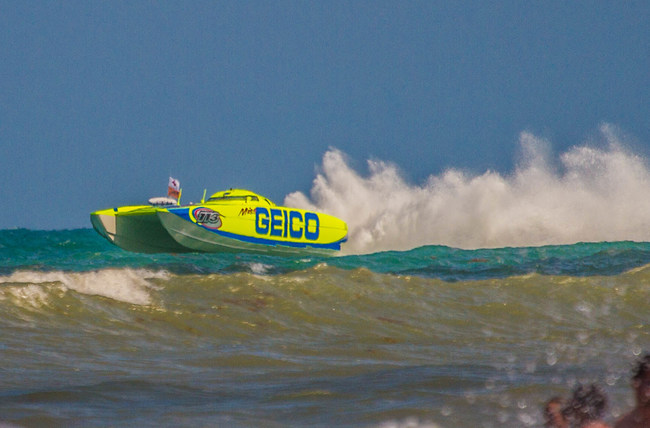 Three to four foot seas make for interesting racing. Miss GEICO goes airborne during a race earlier in the 2019 season.