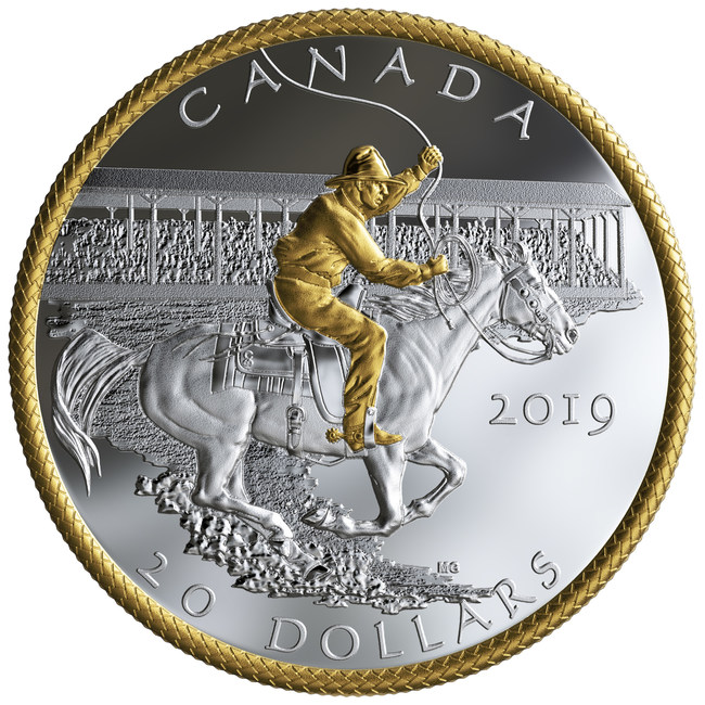 The Royal Canadian Mint's 100th Anniversary of the Victory Stampede silver collector coin (CNW Group/Royal Canadian Mint)
