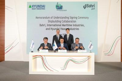 Front Row L-R: Mr. Sam Hyun Ka, CEO, Hyundai Heavy Industries; Mr. Fathi K. Al-Saleem, Chief Executive Officer, IMI; Eng. Abdullah Aldubaikhi, Chief Executive Officer, Bahri. Back Row L-R: Mr. Amin H. Nasser, President and Chief Executive Officer, Saudi Aramco; Mr. Kisun Chung, SEVP, Hyundai Heavy Industries Group