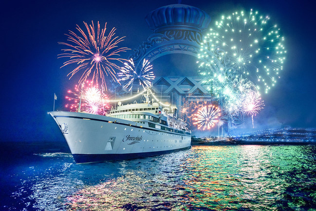 Fireworks illuminate the Freewinds as she weighs anchor from St. Kitts in the Lesser Antilles.