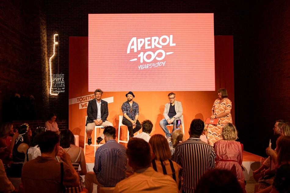 Sergio Gerasi and Tito Faraci discuss the launch of Orange Chronicles in Venice, a graphic Novel celebrating the centenary of the brand (PRNewsfoto/Aperol)