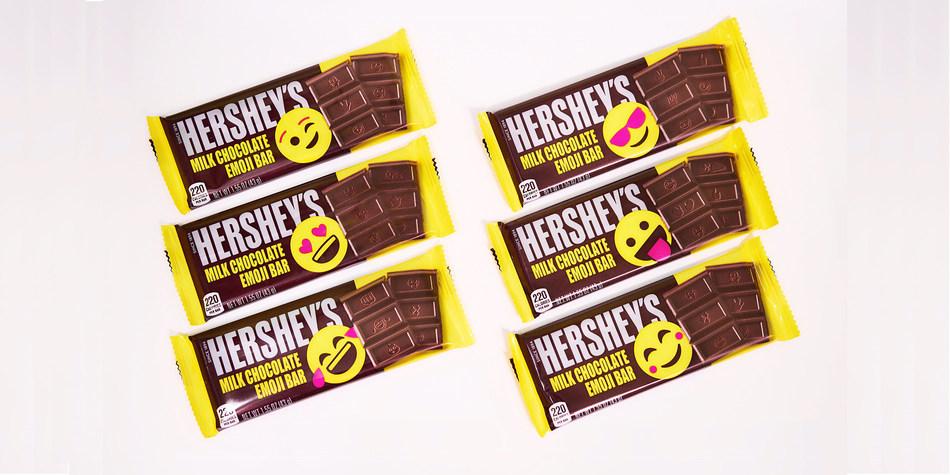 Hershey's chocolate bars with emojis