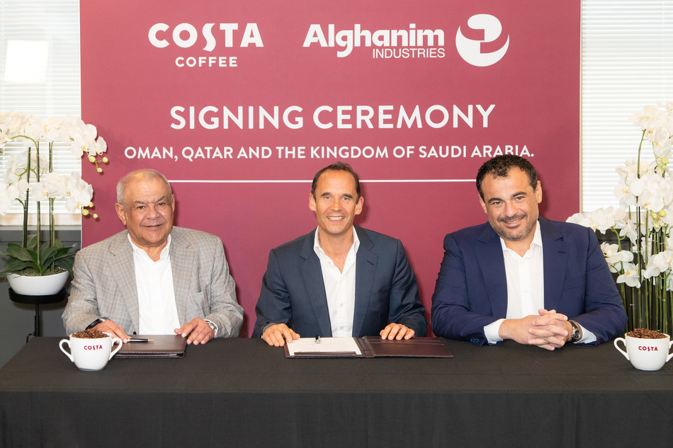 Kutayba Y. Alghanim, Executive Chairman, Alghanim Industries, Dominic Paul, CEO, Costa Coffee, and Omar K. Alghanim, Group CEO, Alghanim Industries, celebrate the expansion of the companies' successful partnership.