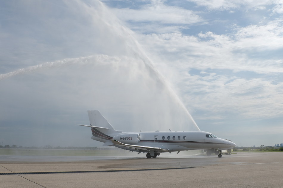 NetJets' 100th Latitude delivery arrives at its headquarters in Columbus, OH.