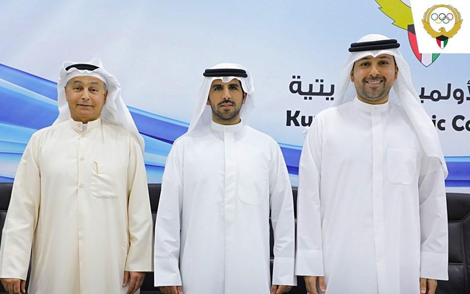 (From L-R) Mr  Husain Al Musallam (Secretary General) H E  Sheikh Fahad Nasser Sabah Ahmad Al Sabah (President) and Mohammed Nabil Jaffar