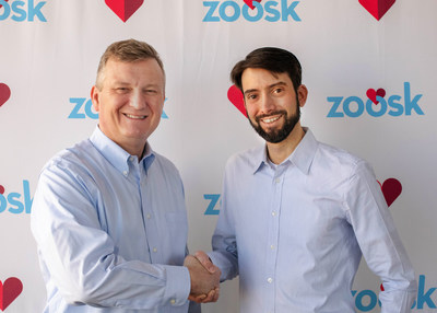 Jeronimo Folgueira (right), CEO of Spark Networks, confirms the acquisition with Steven McArthur (left), outgoing CEO of Zoosk, Inc.