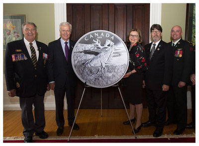 The unveiling of the silver Forget-me-not collector coin at Government House in St John's, NL (July 1, 2019).  From left: Royal Canadian Legion 1st Vice-President (Newfoundland and Labrador Command) Nathan Lehr, Mint Board of Directors member Vic Young, Her Honour, The Honourable Judy M. Foote Lieutenant-Governor of Newfoundland and Labrador, His Honour Howard Foote, Royal Newfoundland Regiment Commanding Officer LCol Kyle Strong. (CNW Group/Royal Canadian Mint)
