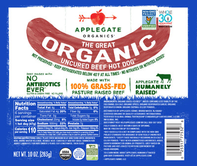 Global Animal Partnership (GAP) seal featured on Applegate Organics® The Great Organic Uncured Beef Hot Dog™ at retailers nationwide. Also appearing on other hot dog varieties, such as The Great Organic Uncured Turkey Hot Dog™, The Great Organic Chicken Hot Dog™ and the Applegate Naturals® Natural Uncured Turkey Hot Dog.