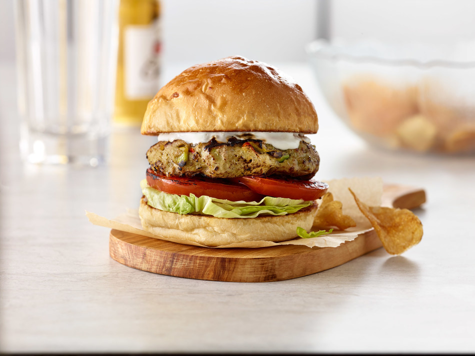 Award-winning Certified Master Chef Ron DeSantis, writer and principal advisor of the consulting firm CulinaryNXT, delivers something unexpected with the Guacamole Turkey Burger topped with Sour Cream Aioli and featuring a guacamole-infused, handmade ground turkey patty.