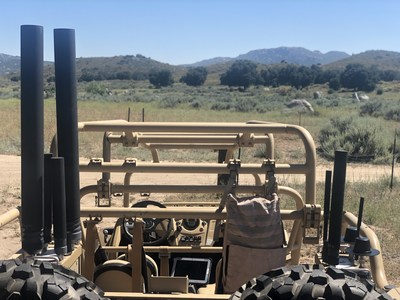 Citadel Defense's Titan CUAS system integrated onto a military vehicle. Broadly used for expeditionary missions, Citadel's counter drone solution keeps troops protected and undetected from drones when stationary or on the move.