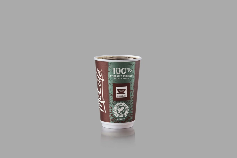 McDonald's Canada today announced it will now only serve coffee beans that are 100 per cent Rainforest Alliance Certified™ to meet ethical-sourcing standards. The new Rainforest Alliance™ seal will be seen on McCafé™ cups across the country starting this week. (CNW Group/McDonald's Canada)