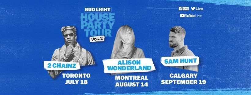 The Bud Light House Party Tour will feature new artists, different cities, and will expand into additional genres this year. (CNW Group/Bud Light Canada)
