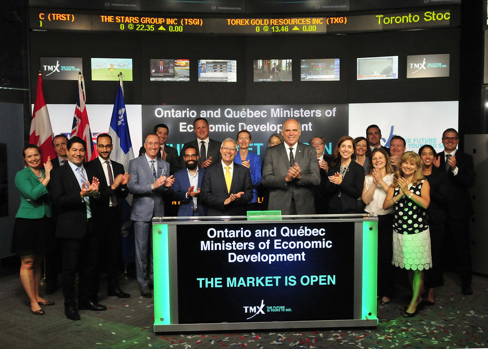 Ontario and Québec Ministers of Economic Development Open the Market (CNW Group/TMX Group Limited)