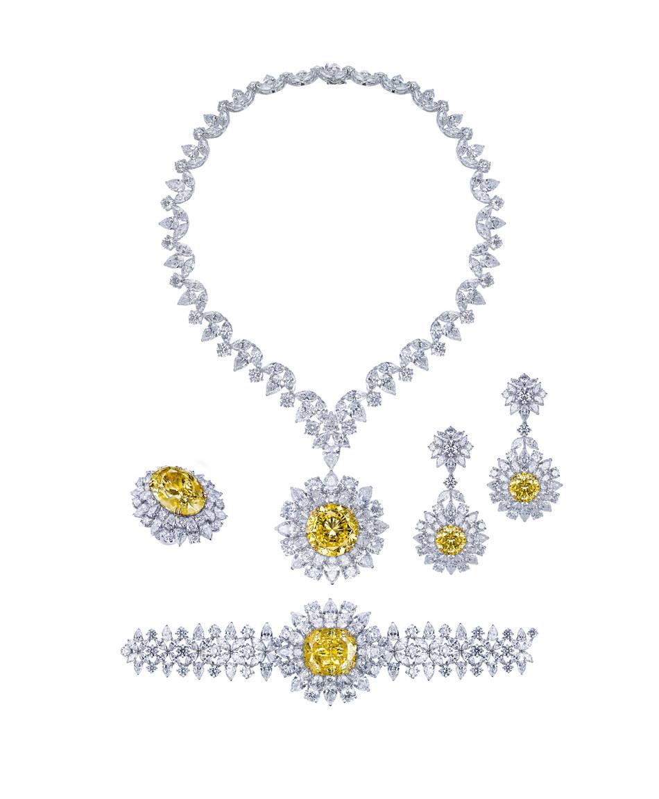 Mouawad Dragon Yellow and White Diamond Suite.