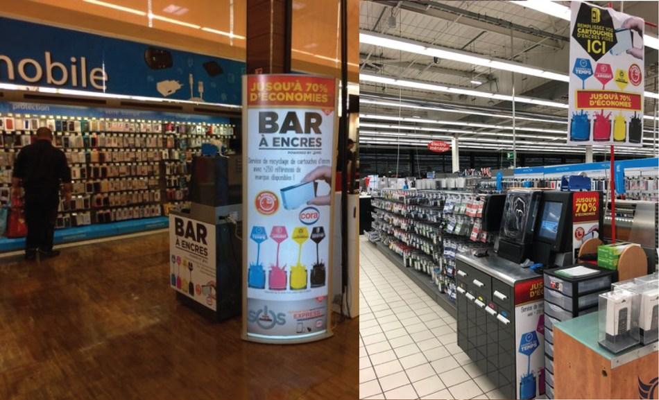 Urządzenia RIS InkCenters® i oznakowanie reklamowe w hipermarketach Cora Wittenheim i Cora Blois